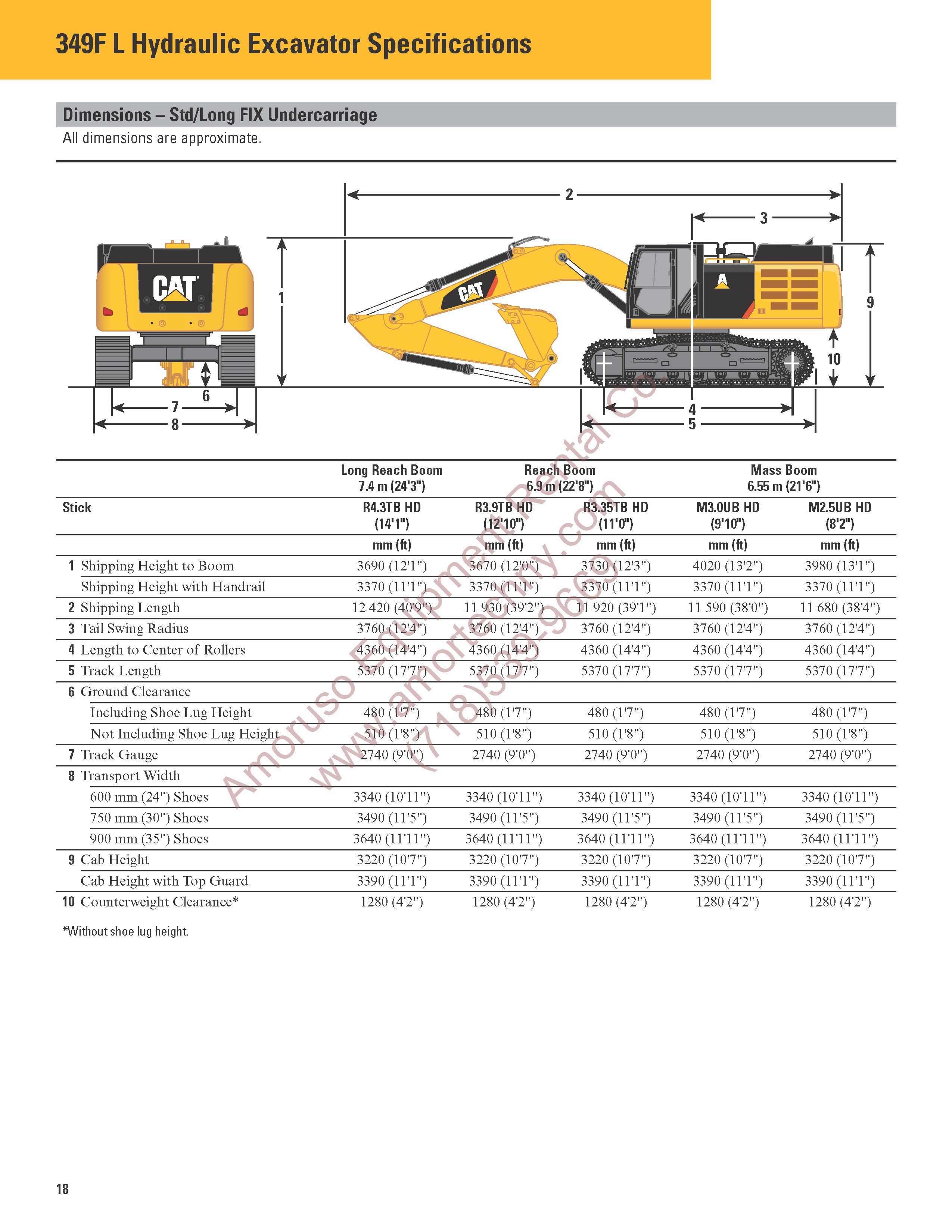 CAT 349F Track Excavator Tier IV Dimentions